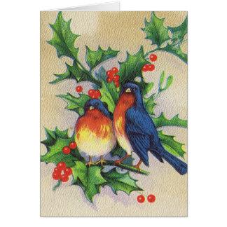 Robins & Holly Christmas Card