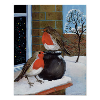 Robins in the snow poster