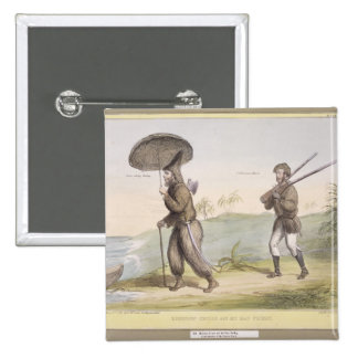 Robinson Crusoe and his Man Friday, (HB Sketches N 2 Inch Square Button