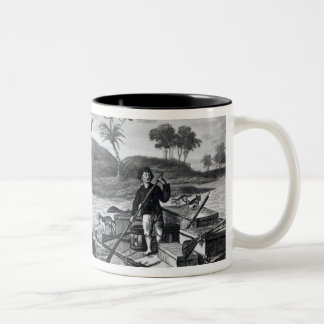 Robinson Crusoe carrying away Two-Tone Coffee Mug