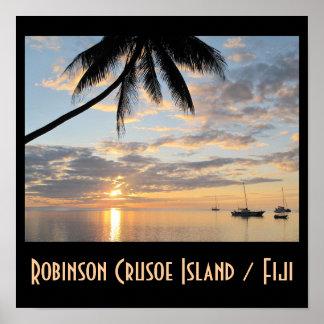 Robinson Crusoe Island Sunset Poster