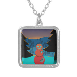 Robo' snowman silver plated necklace