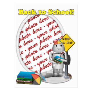 Robo-x9 Goes Back to School Photo Frame Postcard