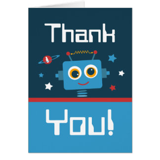 Robot 1st Birthday Thank You Notes