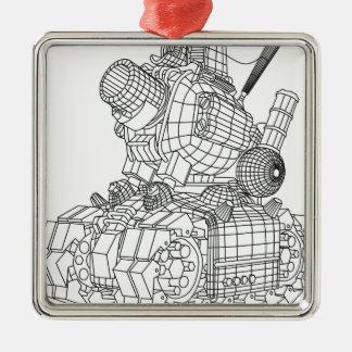 robot-2 Silver-Colored square ornament
