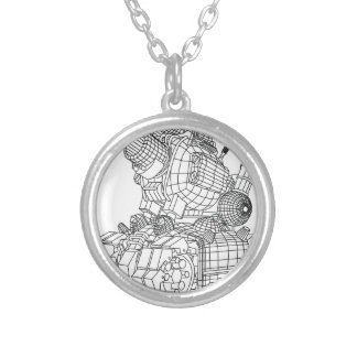robot-2 silver plated necklace