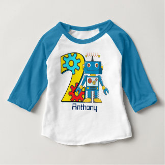 Robot 2nd Birthday Custom Baby T-Shirt
