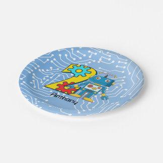 Robot 2nd Birthday Custom Paper Plate