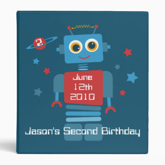 Robot 2nd Birthday Keepsake Photo Binder