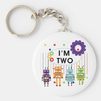 Robot 2nd Birthday tshirts and Gifts Basic Round Button Keychain