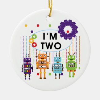 Robot 2nd Birthday tshirts and Gifts Ceramic Ornament