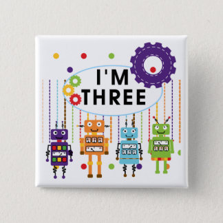Robot 3rd Birthday T shirts and Gifts 2 Inch Square Button