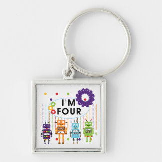Robot 4th Birthday Tshirts and Gifts Keychains