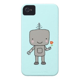 Robot Aqua Blue Cute Robot Sweet Smile with Flower Case-Mate iPhone 4 Case