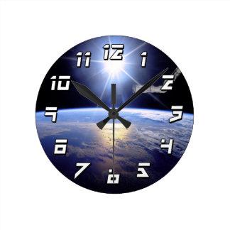 Robot Arm Over Earth with Sunburst Clocks
