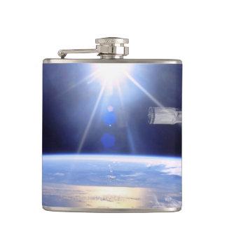 Robot Arm Over Earth with Sunburst Flasks