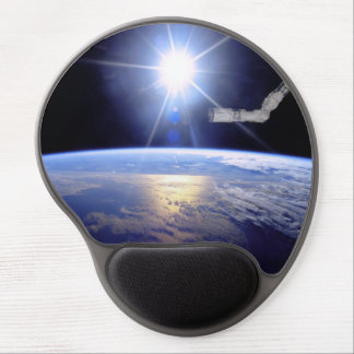 Robot Arm Over Earth with Sunburst Gel Mousepads