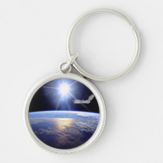 Robot Arm Over Earth with Sunburst Keychains
