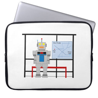Robot At A Bus Stop Computer Sleeves