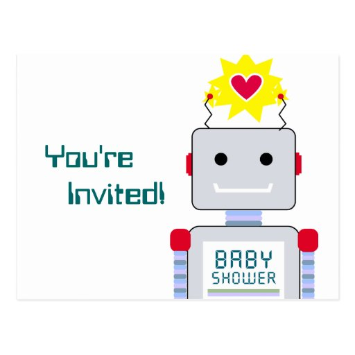 Robot Baby Shower Postcard Invitations
