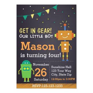 Robot Birthday Invitation (boy)
