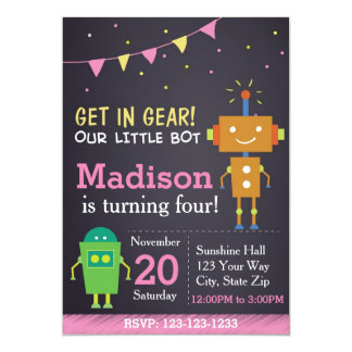 Robot Birthday Invitation (girl)