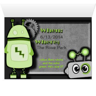 Robot Birthday Invitation Greeting Card
