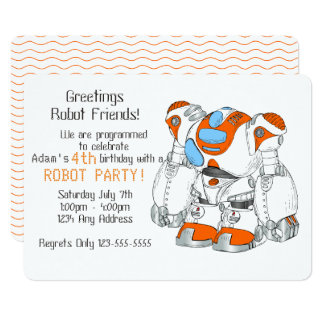 Robot Birthday Party Card