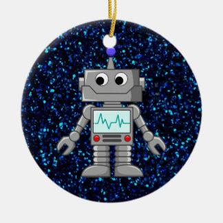 robot cartoon round ceramic ornament