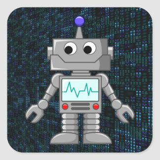robot cartoon square sticker