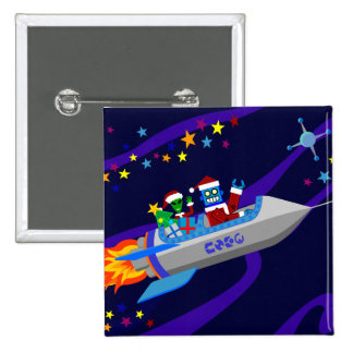 Robot Christmas Rocket 2 Inch Square Button