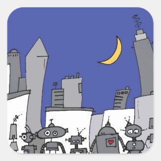 Robot City Square Sticker