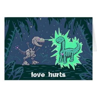 robot dino love greeting card