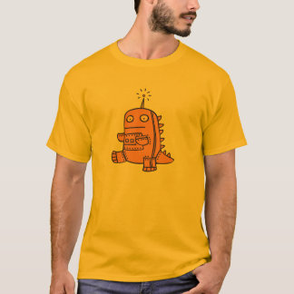 Robot Dino - Orange T-Shirt