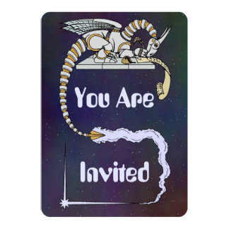 Robot Dragon Writing in Scroll Card
