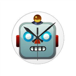 Robot Face Emoji Round Clock