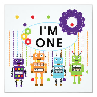 """Robot First Birthday Tshirts and Gifts 5.25"""" Square Invitation Card"""