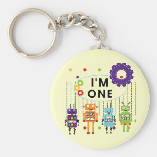 Robot First Birthday Tshirts and Gifts Basic Round Button Keychain