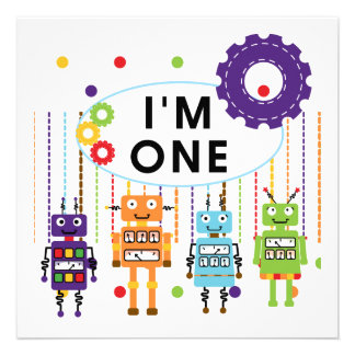 Robot First Birthday Tshirts and Gifts Personalized Invitations