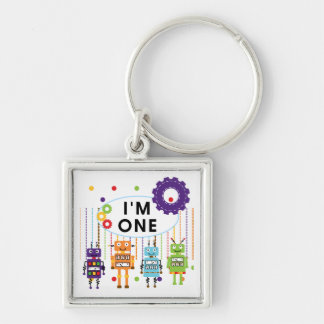 Robot First Birthday Tshirts and Gifts Silver-Colored Square Keychain
