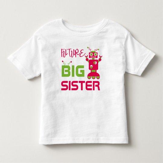 Robot Future Big Sister Kids Pink Cute Sibling Toddler T-shirt