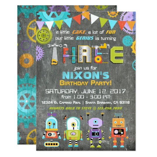 Robot Genius Gears Tools Chalkboard Birthday Card