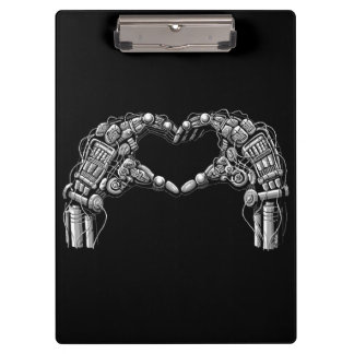 Robot hands make heart shape clipboard