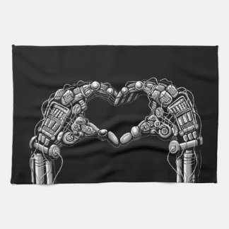 Robot hands make heart shape kitchen towel