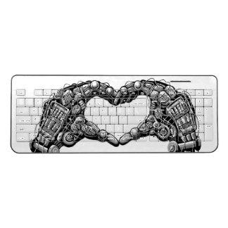 Robot hands make heart shape wireless keyboard