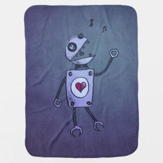 Robot heureux grunge de chant de geek couverture de bébé