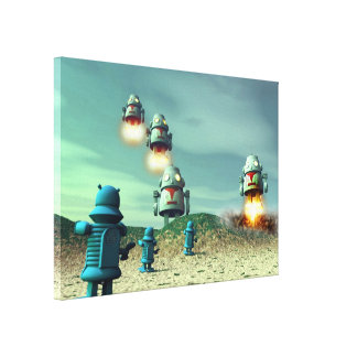 Robot Invasion From Above V2 Stretched Canvas Prin