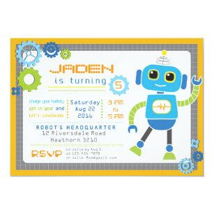 robot birthday invitations announcements zazzle ca