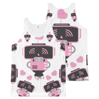 Robot Love All-Over Printed Unisex Tank