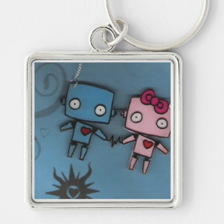 robot love Silver-Colored square keychain